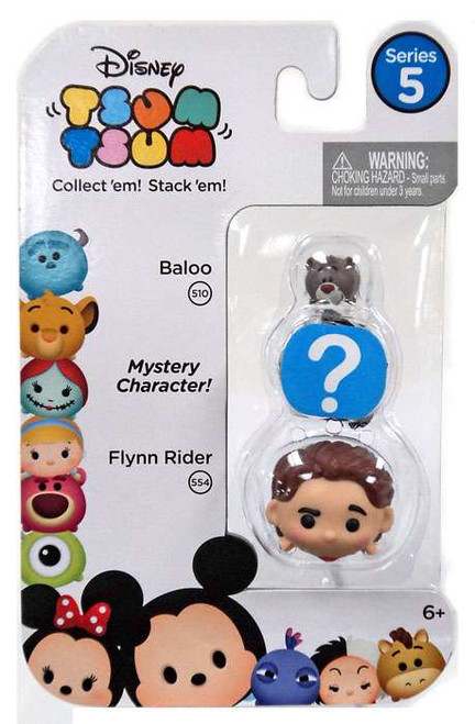 Disney Tsum Tsum Series 5 Baloo & Flynn Rider 1-Inch Minifigure 3-Pack #510 & 554