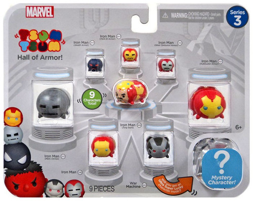 Marvel Tsum Tsum Series 3 Iron Man, MkI Armor, Stealth Armor, Mk III Armor, Silver Centurion, Hulkbuster, Tony Stark & War Machine 1-Inch Minifigure 9-Pack [Hall of Armor!]