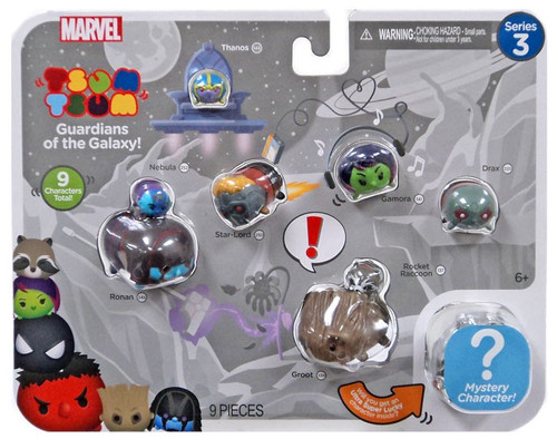 Marvel Guardians of the Galaxy Tsum Tsum Series 3 Ronan, Nebula, Thanos, Star-Lord, Gamora, Drax, Rocket & Groot 1-Inch Minifigure 9-Pack