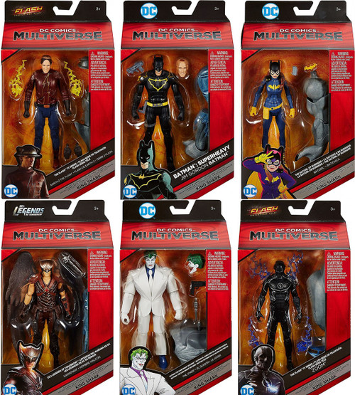 DC Multiverse King Shark Series Flash, Zoom, Batman, Batgirl, Hawkman & Joker Set of 6 Action Figures