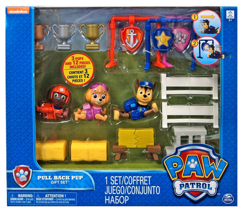 Paw Patrol Pull Back Pup 3-Pack Zuma, Skye & Chase Exclusive Gift Set