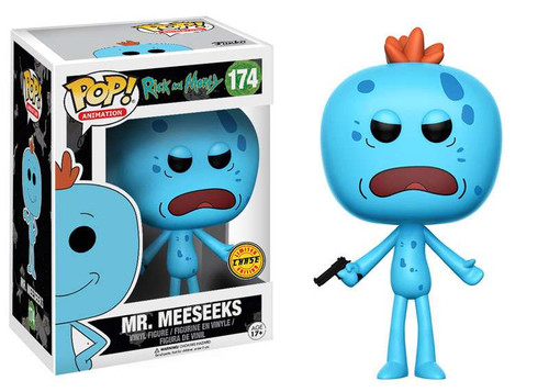 Funko Rick & Morty POP! Animation Mr. Meeseeks Vinyl Figure #174 [Frown With Gun, Chase Version]
