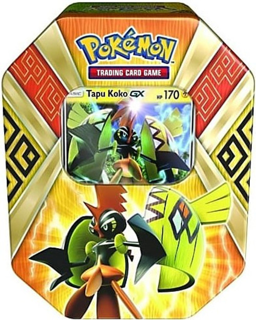 Pokemon Trading Card Game 2017 Island Guardians Tapu Koko-GX Tin Set [4 Booster Packs & Promo Card!]