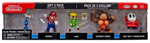 World of Nintendo Blue Pikmin, Mario, Link, Donkey Kong & Shy Guy 2.5-Inch Mini Figure 5-Pack