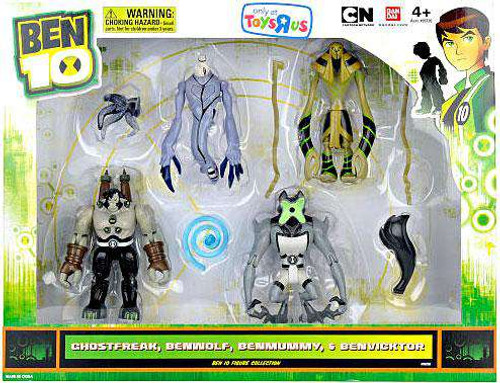 Ben 10 Ghostfreak, Benwolf, Benmummy & Benvicktor Exclusive Action Figure 4-Pack [Damaged Package]
