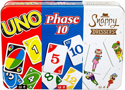 UNO Collector Tin Card Game 3-Pack [UNO, Phase 10, Snappy Dresser]