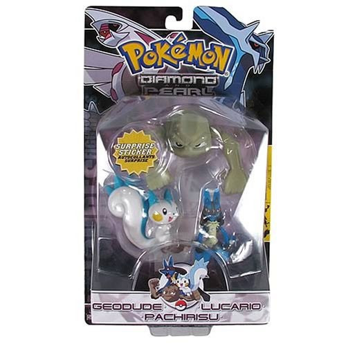 Pokemon Diamond & Pearl Series 1 Pachirisu, Geodude & Lucario Figure 3-Pack