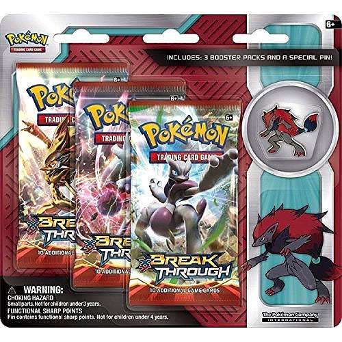Pokemon Trading Card Game XY BREAKthrough Zoroark Pin Collection [3 Booster Packs!]
