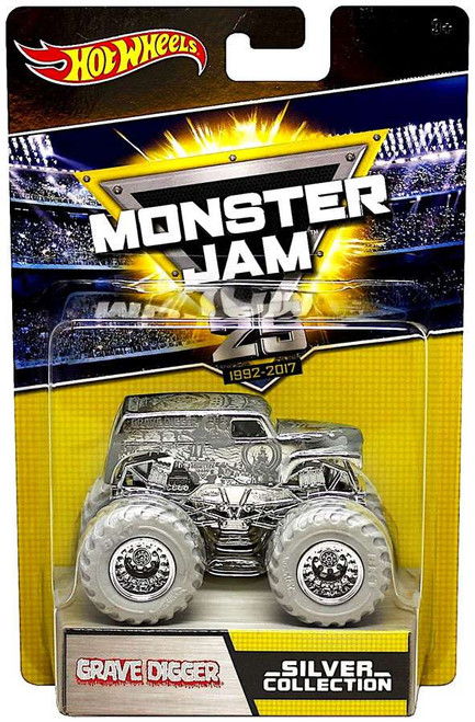 Hot Wheels Monster Jam 25 Silver Collection Grave Digger Diecast Car
