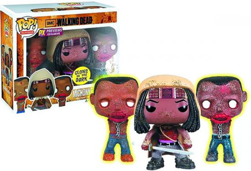 Funko The Walking Dead POP! TV Michonne & Pet Zombies Exclusive Vinyl Figure 3-Pack [Glow in the Dark]