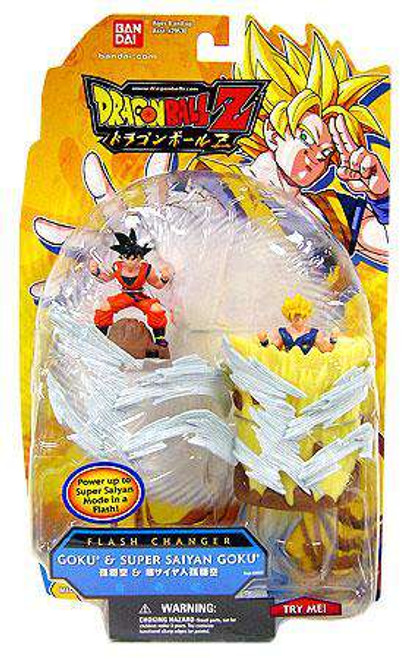 Dragon Ball Z Flash Changer Goku & Super Saiyan Goku Action Figure 2-Pack
