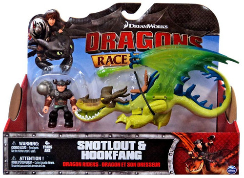 How to Train Your Dragon Race to the Edge Dragon Riders Snotlout & Hookfang (Green) Action Figure 2-Pack