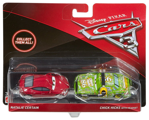 Disney / Pixar Cars Cars 3 Natalie Certain & Chick Hicks with Headset Diecast 2-Pack