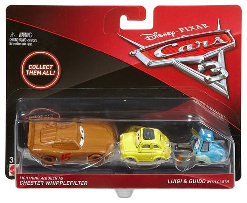 Disney / Pixar Cars Cars 3 Chester Whipplefilter, Luigi & Guido with Cloth Diecast 3-Pack