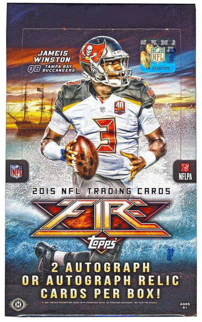 NFL Topps 2015 Fire Football Trading Card HOBBY Box [20 Packs, 2 Autograph OR Autograph Relic Cards]