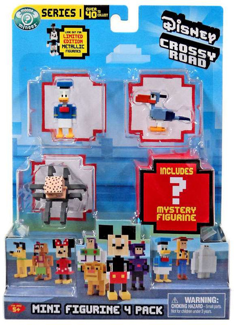 Crossy Road Disney Donald, Zazu, Babyhead & Mystery Figure Mini Figure 4-Pack