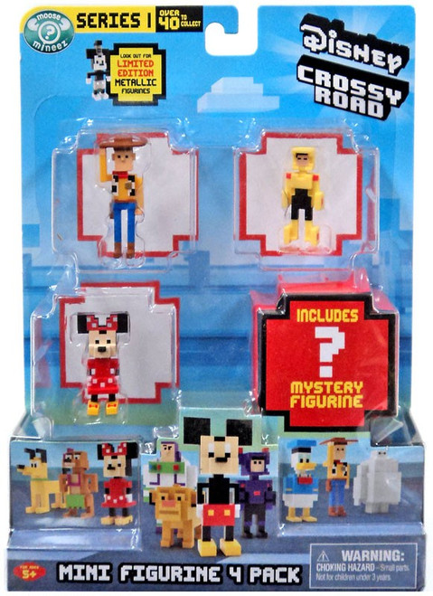 Crossy Road Disney Series 1 Woody, Go Go Tomago, Minnie & Mystery Figure Mini Figure 4-Pack