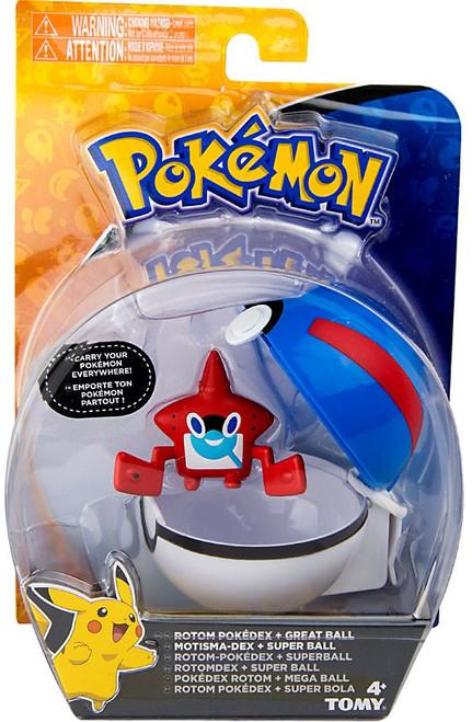 Pokemon Clip n Carry Pokeball Rotom Pokedex & Great Ball Figure Set