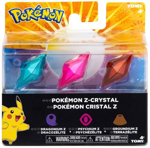 Pokemon Z-Ring Dragonium Z, Psychium Z & Groundium Z Crystal 3-Pack