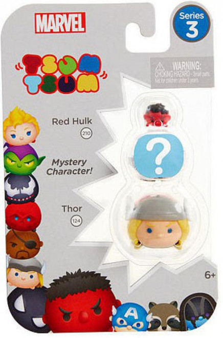 Marvel Tsum Tsum Series 3 Red Hulk & Thor 1-Inch Minifigure 3-Pack #210, 124