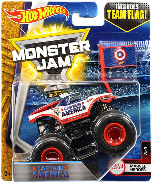 Hot Wheels Monster Jam 25 Captain America Die-Cast Car #3/3 [Marvel Heroes]