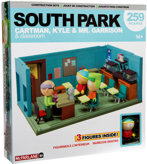 McFarlane Toys South Park Mr. Garrison, Kyle & Cartman With Classroom Large Construction Set