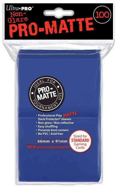 Ultra Pro Card Supplies Non-Glare Pro-Matte Blue Standard Card Sleeves [100 Sleeves]