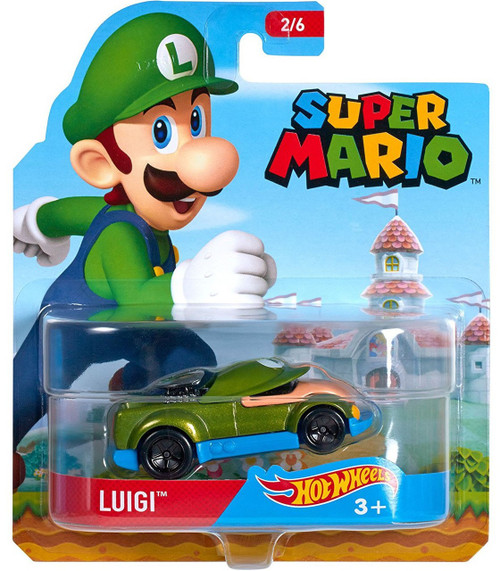 Hot Wheels Super Mario Character Cars Luigi Diecast Car #2/6
