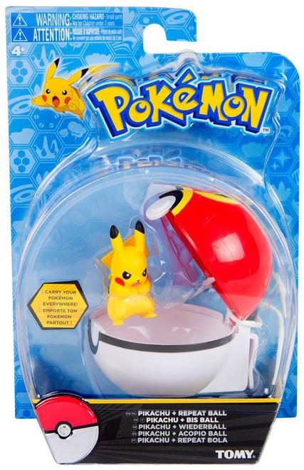 Pokemon Clip n Carry Pokeball Pikachu & Repeat Ball Figure Set [Angry]