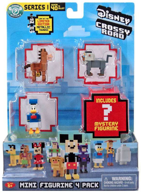 Crossy Road Disney Bullseye, Rafiki & Donald & Mystery Figure Mini Figure 4-Pack