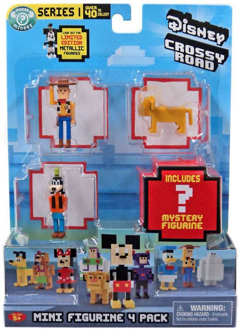 Crossy Road Disney Woody, Simba, Goofy & Mystery Figure Mini Figure 4-Pack