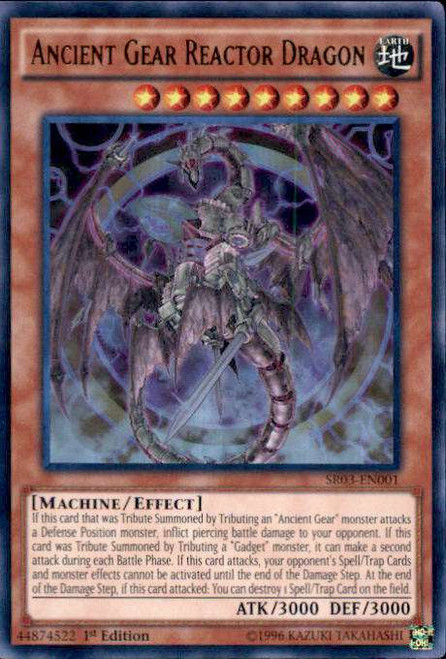 YuGiOh Machine Reactor Structure Deck Ultra Rare Ancient Gear Reactor Dragon SR03-EN001