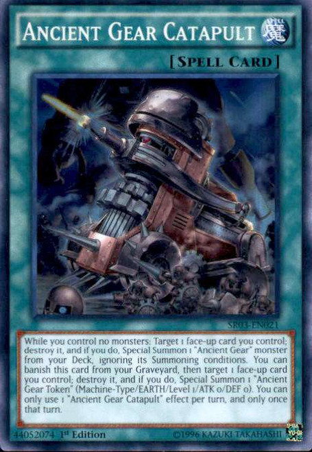 YuGiOh Machine Reactor Structure Deck Super Rare Ancient Gear Catapult SR03-EN021