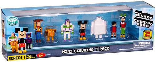 Crossy Road Disney Woody, Simba, Buzz, Mickey, Baymax, Hiro & Clarabelle Mini Figure 7-Pack