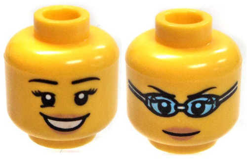 Yellow Female with Silver Glasses /& Kind Smile Minifigure Head Loose