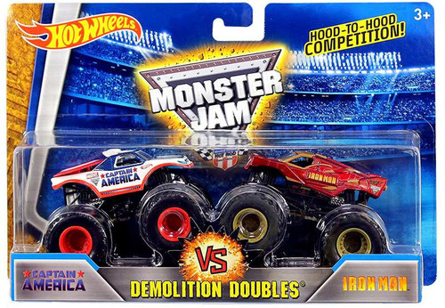Hot Wheels Monster Jam 25 Demolition Doubles Captain America vs Iron Man Diecast Car 2-Pack