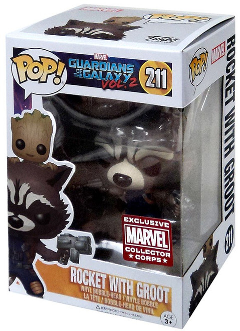 Funko POP! Marvel Rocket Raccoon with Baby Groot Exclusive Vinyl Bobble Head #211 [Guardians of the Galaxy Vol. 2]
