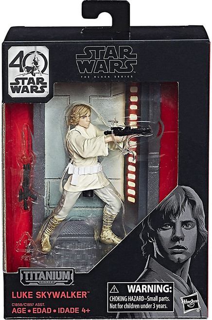 Disney Star Wars A New Hope 40th Anniversary Black Titanium Series 1 Luke Skywalker Die Cast Action Figure