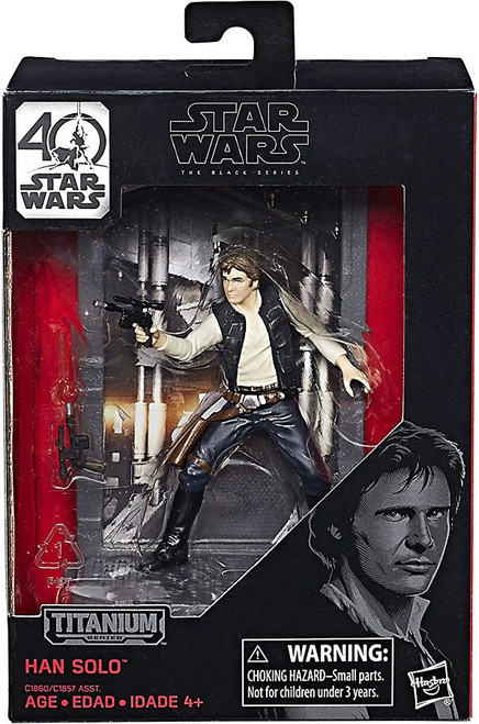 Disney Star Wars A New Hope 40th Anniversary Black Titanium Series 1 Han Solo Die Cast Action Figure
