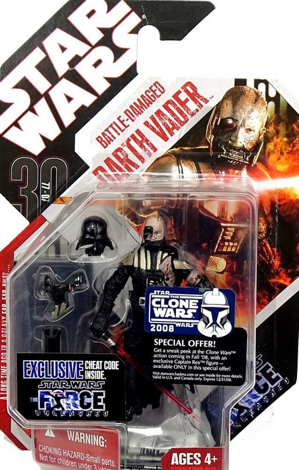 Star Wars Force Unleashed 30th Anniversary 2008 Wave 2 Battle Damaged Darth Vader Action Figure #12 [Damaged Package]