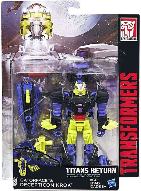 Transformers Generations Titans Return Gatorface & Decepticon Krok Deluxe Action Figure [Damaged Package]