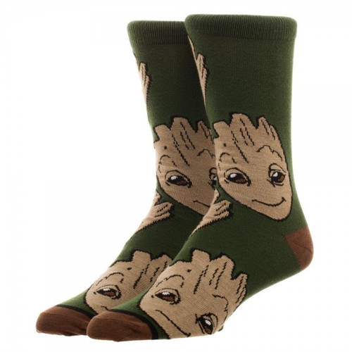 Marvel Guardians of the Galaxy Groot Large All Over Print Crew Socks Apparel