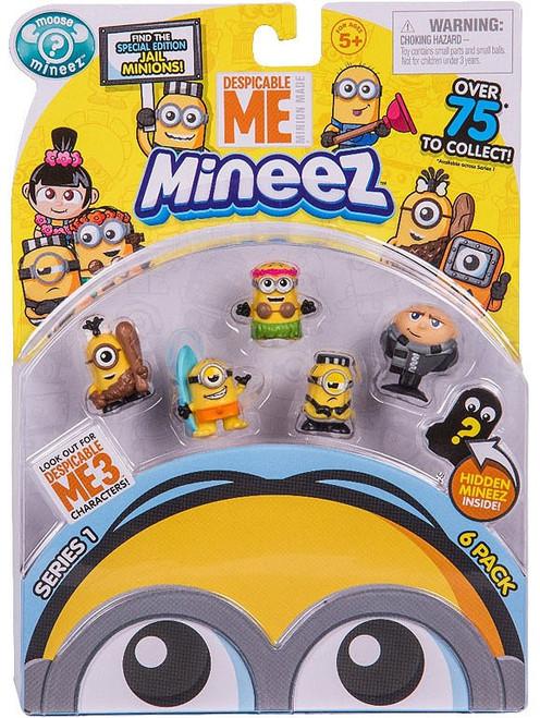 Despicable Me Minions Mineez Series 1 Cro-Minion, Surf's Up Minion, Luau Jerry, Jail Time Mel & Gru Mini Figure 6-Pack