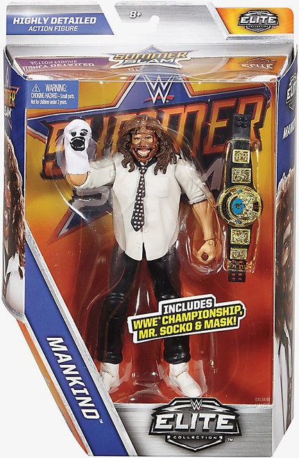 WWE Wrestling Elite Collection Summer Slam 2017 Mankind Action Figure [WWE Championship Belt, Mr. Socko & Mask]