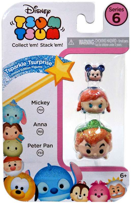 Disney Tsum Tsum Series 6 Tsparkle Tsurprise Mickey, Anna & Peter Pan 1-Inch Minifigure 3-Pack T01, T65 & T33