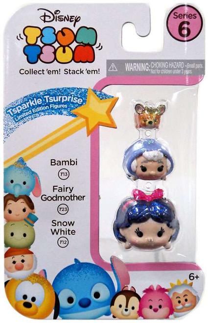 Disney Tsum Tsum Series 6 Tsparkle Tsurprise Bambi, Fairy Godmother & Snow White 1-Inch Minifigure 3-Pack T13, T23 & T12