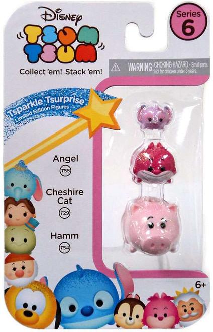 Disney Tsum Tsum Series 6 Tsparkle Tsurprise Angel, Cheshire Cat & Hamm 1-Inch Minifigure 3-Pack T55, T29 & T54