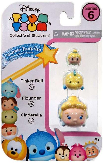 Disney Tsum Tsum Series 6 Tsparkle Tsurprise Tinker Bell, Flounder & Cinderella 1-Inch Minifigure 3-Pack T34, T47 & T21