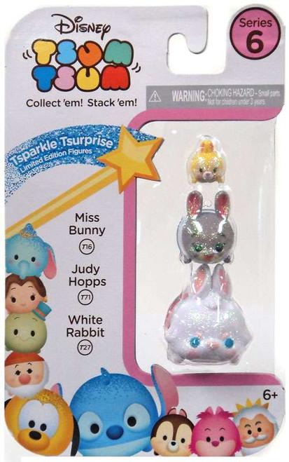 Disney Tsum Tsum Series 6 Tsparkle Tsurprise Miss Bunny, Judy Hopps & White Rabbit 1-Inch Minifigure 3-Pack T16, T71 & T27