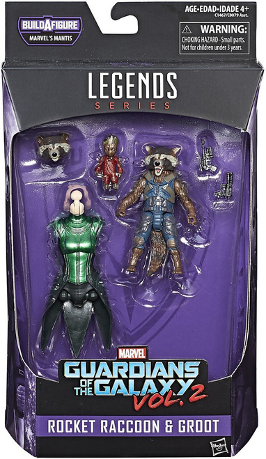 Guardians of the Galaxy Vol. 2 Marvel Legends Mantis Series Rocket Raccoon with Kid Groot Action Figure